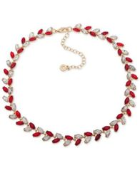 "Image of Anne Klein Multi-Stone Vine-Inspired Statement Necklace, 16"" + 3"" extender, Created for Macy's"