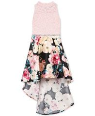 Image of Speechless Big Girls Glitter Lace Floral-Print Dress