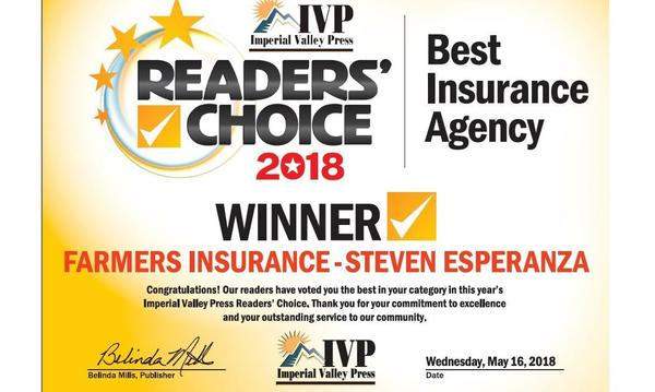 Steven Esperanza earned the Best Insurance Agency award from the Imperial Valley Press in 2018!