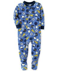 Image of Carter's 1-Pc. Sports-Print Footed Pajamas, Baby Boys (0-24 months)