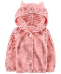 Image of Carter's Baby Girls Hooded Cardigan