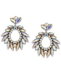 Image of Deepa Silver-Tone Crystal Drop Earrings