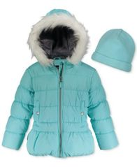 Image of Weathertamer Hooded Puffer Coat With Faux-Fur Trim & Hat, Little Girls (4-6X)