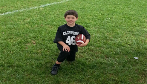 My son Tyler in his flag football uniform