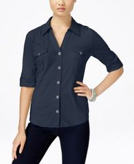 Image of Style & Co Petite Jersey Utility Shirt, Created for Macy's