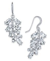Image of Charter Club Silver-Tone Pavé Leaf Drop Earrings, Created for Macy's