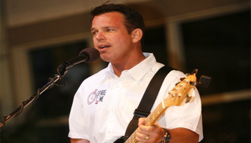 Dave performing with SPARE TIME, a classic rock band, for a girl's youth camp.