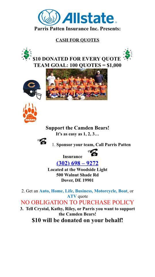 Parris Patten - Support the Camden Bears by Getting ANY Insurance Quote!
