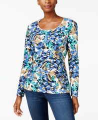 Image of Karen Scott Print Long-Sleeve T-Shirt, Created for Macy's