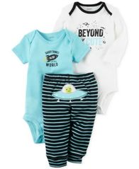 Image of Carter's 3-Pc. Cotton Beyond Cute Space Bodysuits & Pants Set, Baby Boys