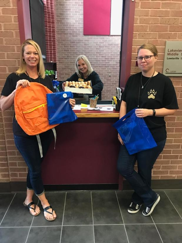 School back packs and breakfast for Lakeview Middle School - The Colony.