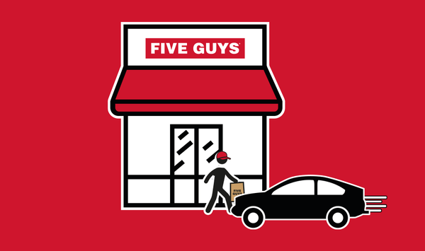 Curbside available now at Five Guys West Midlands Designer Outlet. Order on Click & Collect, enter car registration, enable geolocation and we'll deliver straight to your car.