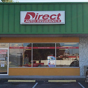 Front of Direct Auto store at 13256 66th Street North, Largo