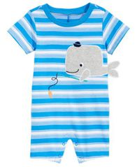 Image of First Impressions Baby Boys Striped Whale Cotton Romper, Created for Macy's