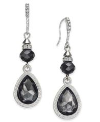 Image of I.N.C. Silver-Tone Jet Stone Drop Earrings, Created for Macy's