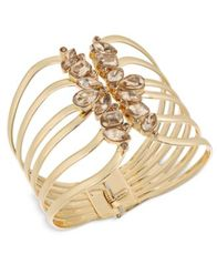 Image of Thalia Sodi Gold-Tone Yellow Crystal Hinged Cuff Bracelet, Created for Macy's