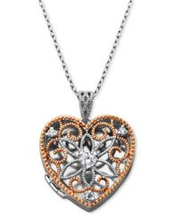 "Image of Giani Bernini Cubic Zirconia Openwork Filigree Heart Locket 18"" Pendant Necklace, Created for Macy's"