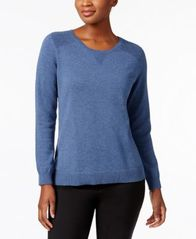 Image of Karen Scott Side-Slit Cotton Sweater, Created for Macy's