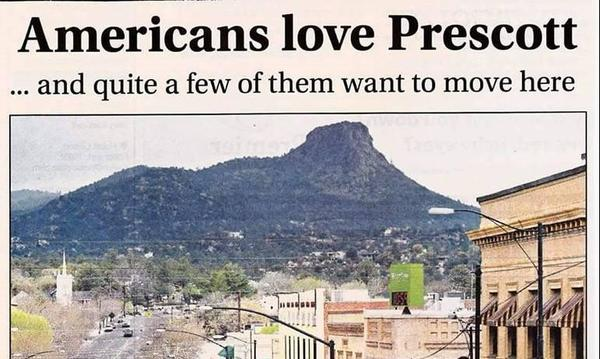"A postcard that shows a photo pf Prescott and reads ""Americans love Prescott"""