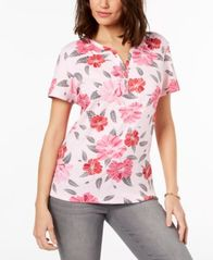 Image of Karen Scott Printed Henley T-Shirt, Created for Macy's