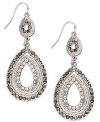 Image of I.N.C. Silver-Tone Pave Double Drop Earrings