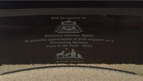 Award for being head sponsor of the Humane society's event The Paws in the Park
