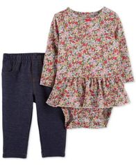 Image of Carter's Baby Girls 2-Pc. Floral-Print Peplum Bodysuit & Pants Set