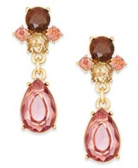 Image of Charter Club Gold-Tone Multi-Crystal Teardrop Drop Earrings, Created for Macy's