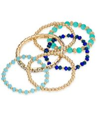 Image of I.N.C. Gold-Tone 6-Pc. Set Bead & Crystal Stretch Bracelets, Created for Macy's