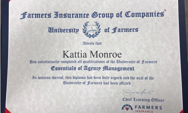 Agent's graduation certificate from University of Farmers