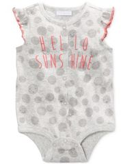 Image of First Impressions Hello Sunshine Cotton Snap-Up Bodysuit, Baby Girls (0-24 months), Created for Macy