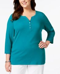 Image of Karen Scott Plus Size Cotton Henley Top, Created for Macy's