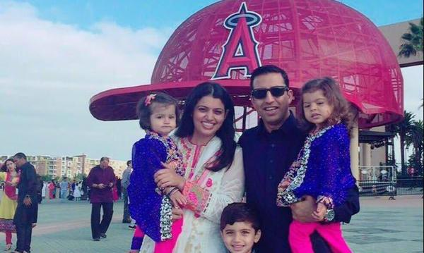 Azaan(son) Anayia(d) Inara(D) my Wife Asma and me at Angel stadium for Eid prayers