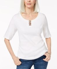 Image of Karen Scott Cotton Metal-Ring T-Shirt, Created for Macy's