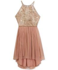 Image of Rare Editions Lace & Mesh High-Low Dress, Big Girls (7-16)