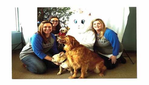 Jen, Michele and Danielle and all of our dogs at the Easter Bunny fundraiser.
