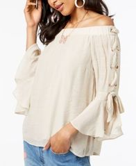 Image of Thalia Sodi Off-The-Shoulder Gauze Lace-Up Top, Created for Macy's