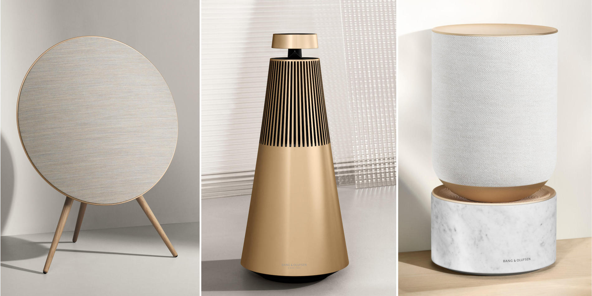 Golden headphones and speakers by Bang & Olufsen