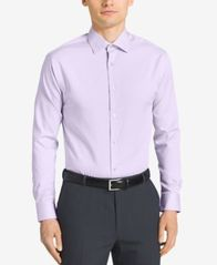 Image of Calvin Klein STEEL Men's Classic-Fit Non-Iron Performance Herringbone Spread Collar Dress Shirt