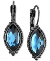Image of 2028 Hematite-Tone & Blue Faceted Stone Drop Earrings, a Macy's Exclusive Style