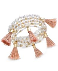 Image of I.N.C. Gold-Tone Bead and Tassel Stretch Bracelet, Created for Macy's