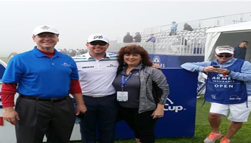 Mark, PGA Pro Robert Garrigus, Michelle Lane and Caddie at the Farmers® Insurance Open Pro/Am