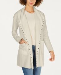 Image of Style & Co Stud-Embellished Hooded Cardigan, Created for Macy's
