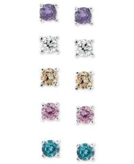 Image of Giani Bernini Sterling Silver Earring Set, Multicolor Cubic Zirconia Five Stud Earring Set (1 ct. t.