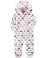 Image of Carter's Hooded Hearts-Print Coverall, Baby Girls (0-24 months)