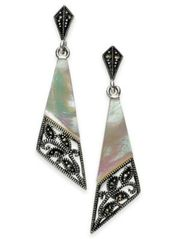 Image of Marcasite and Mother-of-Pearl Drop Earrings in Fine Silver-Plate