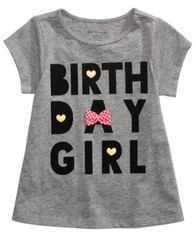 Image of First Impressions Birthday-Print Cotton T-Shirt, Baby Girls, Created for Macy's