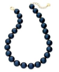 "Image of Charter Club Gold-Tone Imitation Navy Pearl Collar Necklace, 16"" + 2"" extender, Created for Macy's"