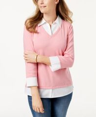 Image of Karen Scott Cotton Layered-Look Top, Created for Macy's