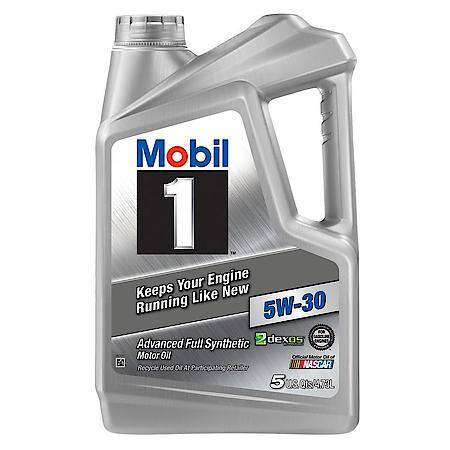 mobil1 syntethic motor oil in a 5-quart container